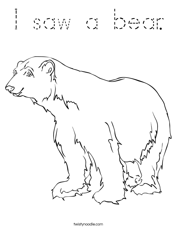 I saw a bear. Coloring Page
