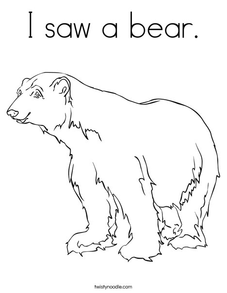 Polar Bear for Zoo Book Coloring Page