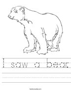 I saw a bear Handwriting Sheet