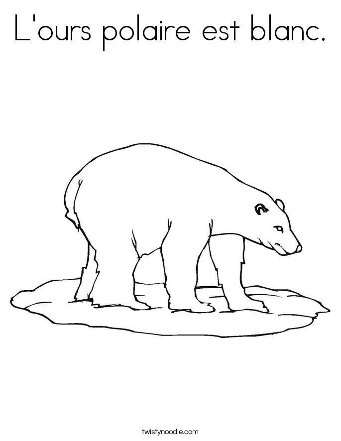 L'ours polaire est blanc. Coloring Page