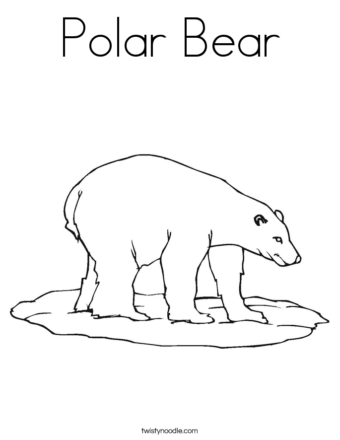 polar bear coloring page  twisty noodle, coloring