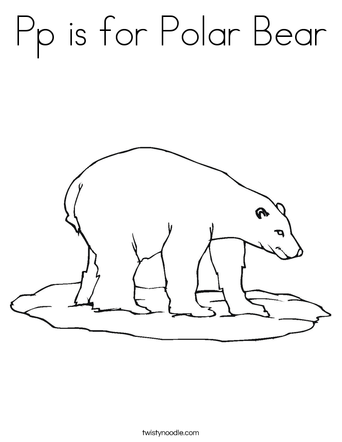 pp is for polar bear coloring page  twisty noodle, coloring
