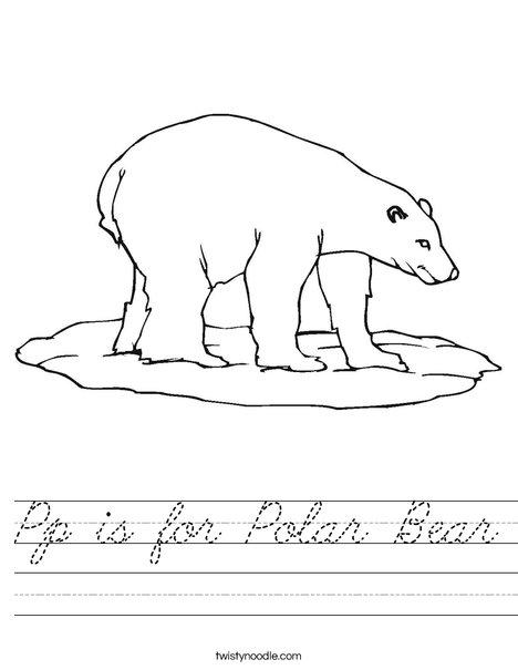Pp is for Polar Bear Worksheet - Cursive - Twisty Noodle