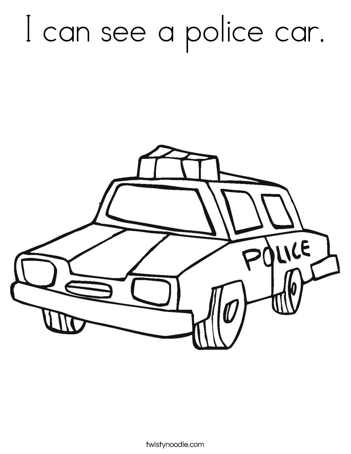 I can see a police car. Coloring Page
