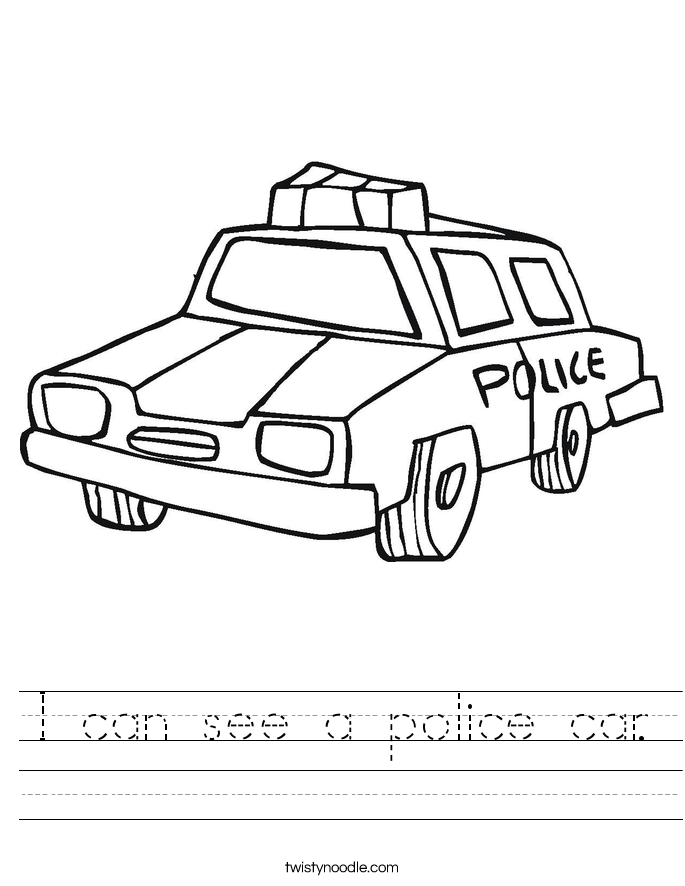 I can see a police car. Worksheet
