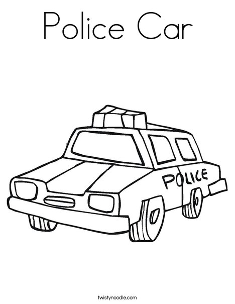 Police Car Coloring Page - Twisty Noodle