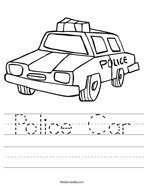 Police Car Handwriting Sheet