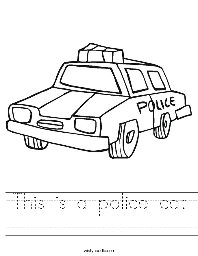 This is a police car. Worksheet