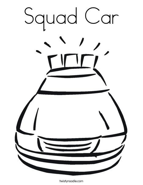 Police Car with Lights Coloring Page