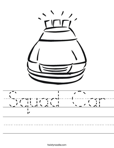 Police Car with Lights Worksheet