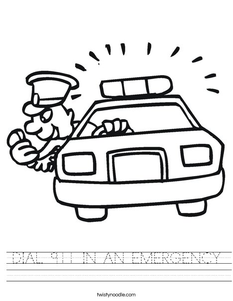 Police Car with Officer Worksheet