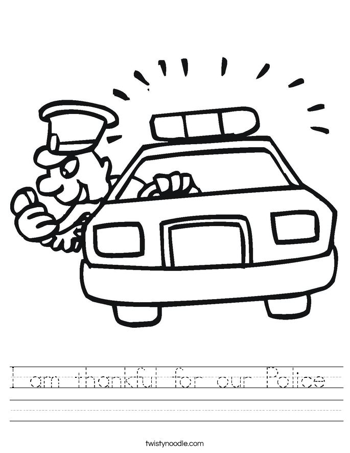 I am thankful for our Police  Worksheet