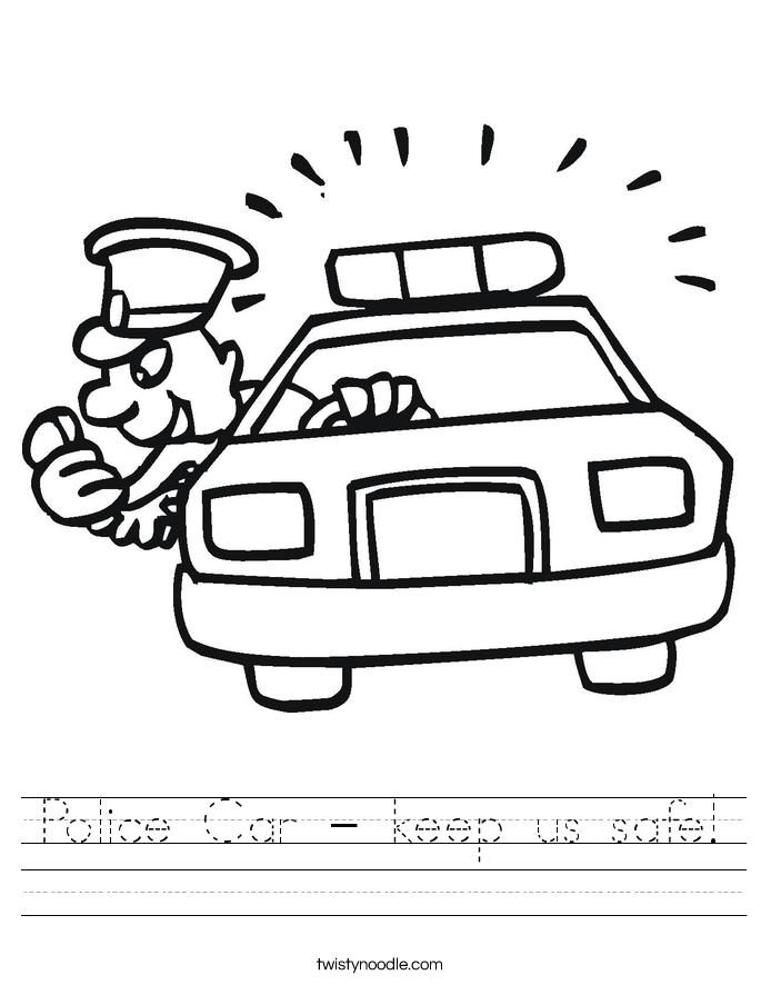 Police Car - keep us safe! Worksheet