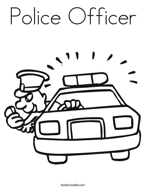 Police Car with Officer Coloring Page