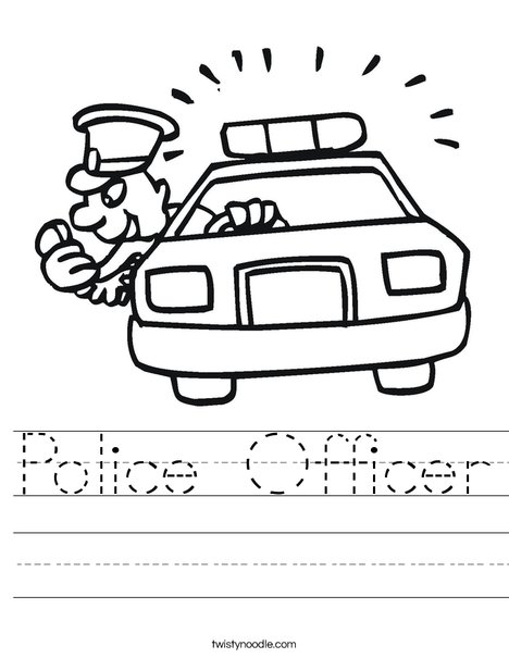 Police Car with Officer Worksheet