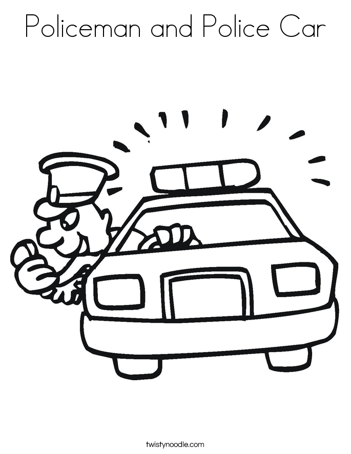 Policeman And Police Car Coloring Page Twisty Noodle