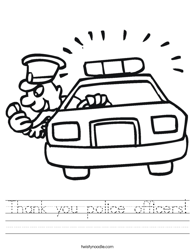 Thank you police officers! Worksheet