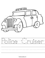 Police Cruiser Handwriting Sheet