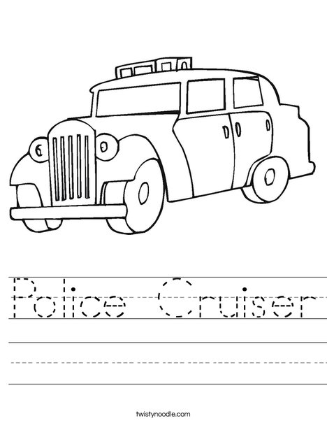 Old Fashioned Police Car Worksheet