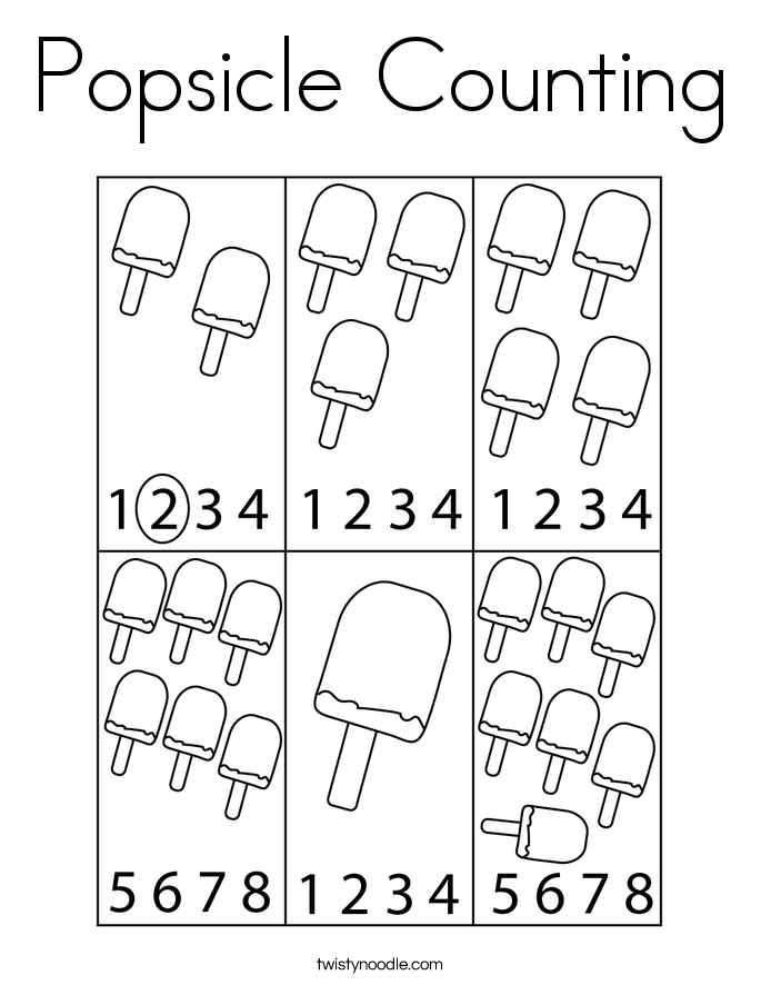 Popsicle Counting Coloring Page