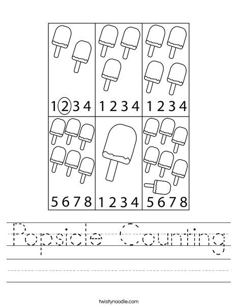 Popsicle Counting Worksheet