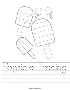 Popsicle Tracing Handwriting Sheet