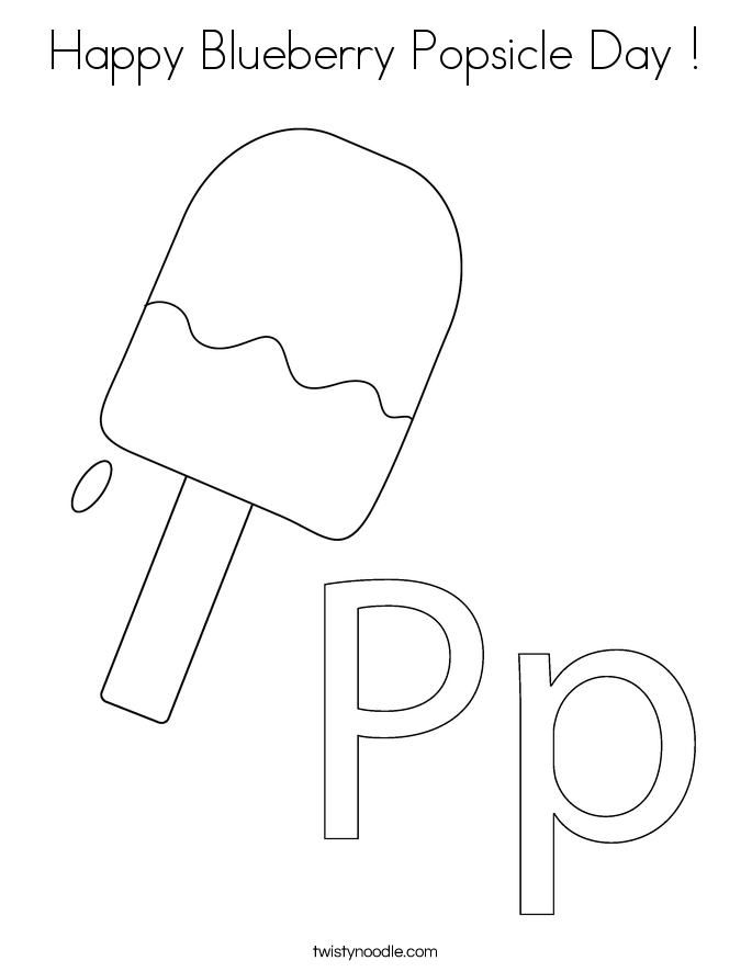Happy Blueberry Popsicle Day ! Coloring Page
