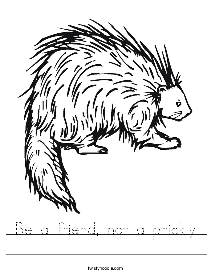 Be a friend, not a prickly Worksheet