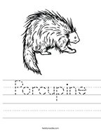 Porcupine Handwriting Sheet