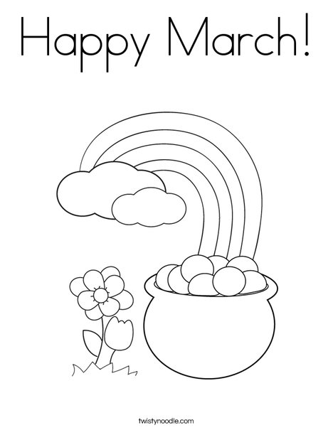 Happy March Coloring Page - Twisty Noodle