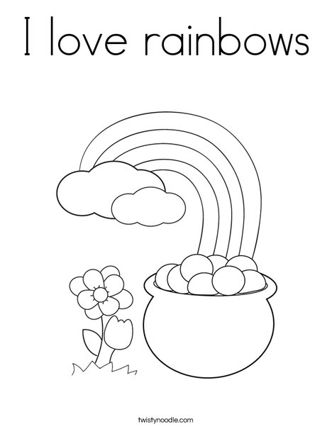 Pot of Gold at the End of a Rainbow Coloring Page
