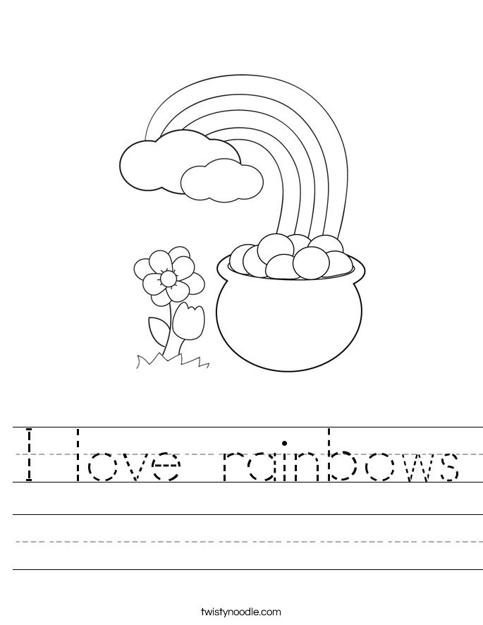 I love rainbows Worksheet