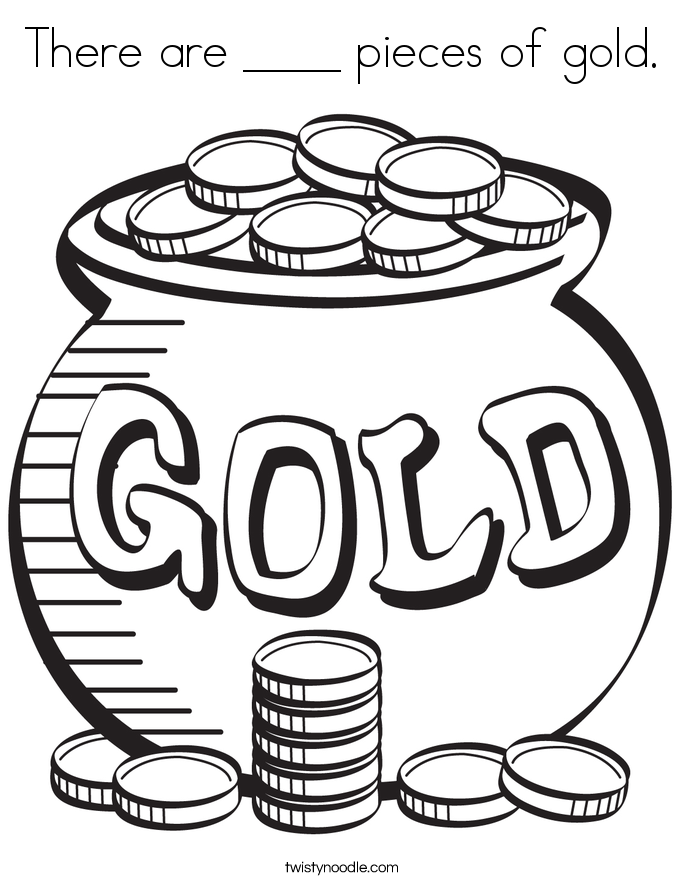 There are ____ pieces of gold. Coloring Page
