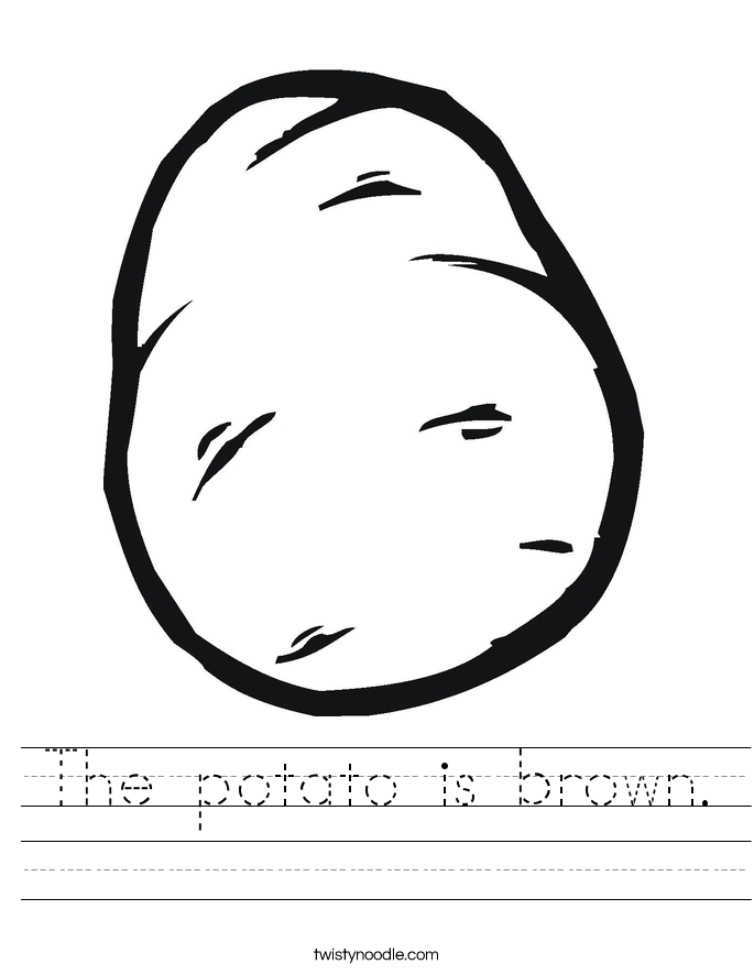 The potato is brown. Worksheet