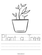 Plant a Tree Handwriting Sheet