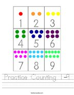 Practice Counting 1-9 Handwriting Sheet