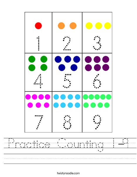 Practice Counting 1-9 Worksheet