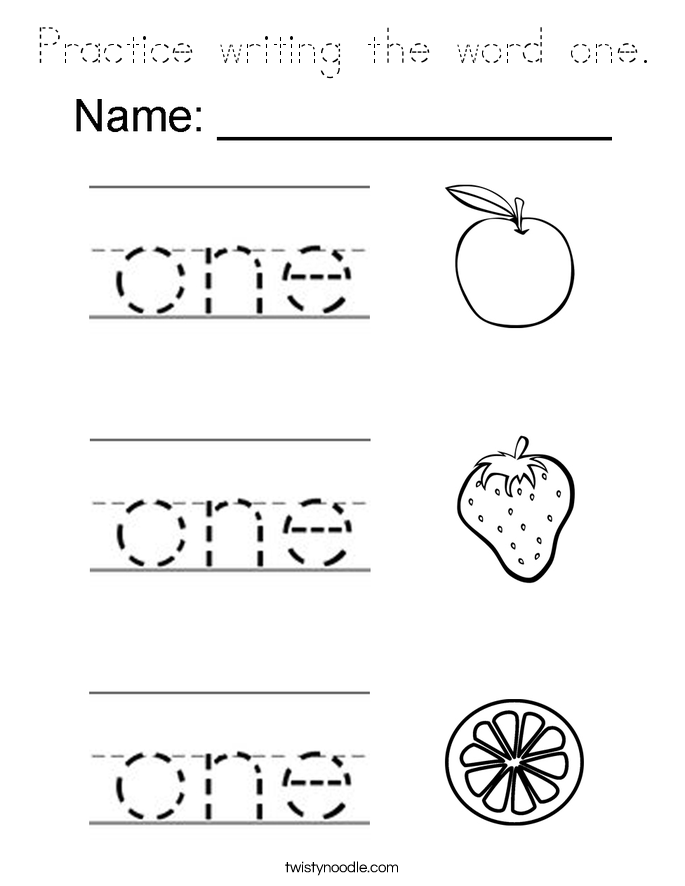Practice writing the word one Coloring Page - Tracing ...