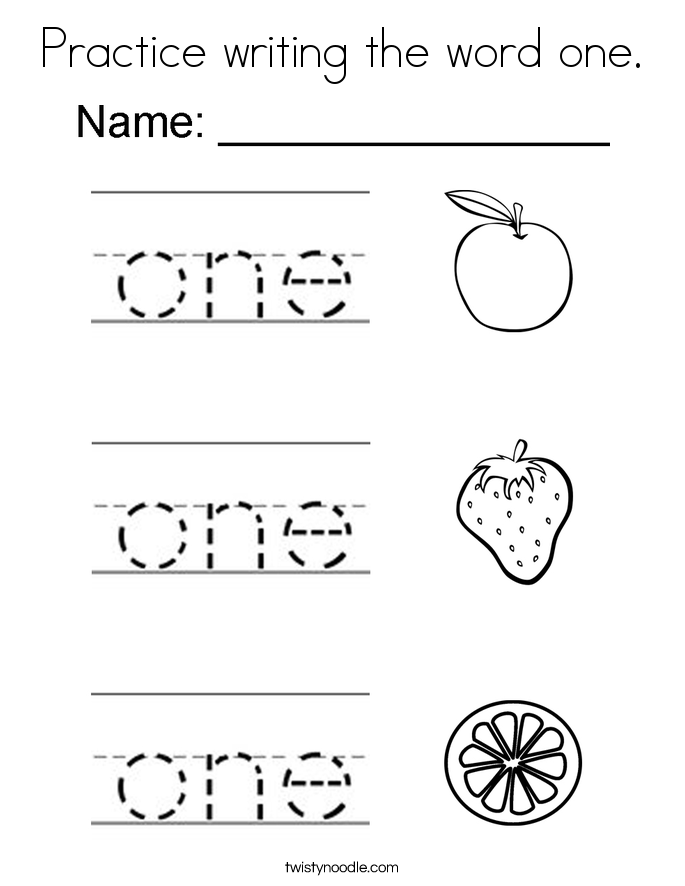 Practice writing the word one. Coloring Page