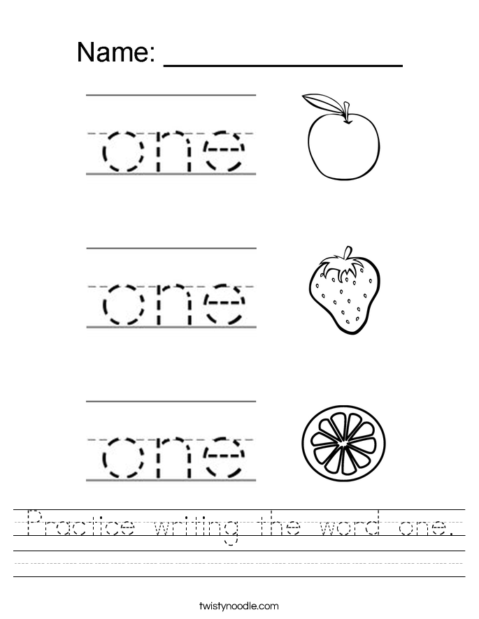 Practice writing the word one. Worksheet