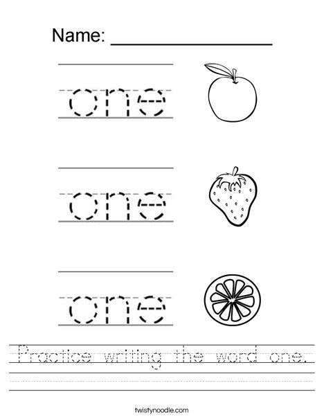 Practice writing one. Worksheet