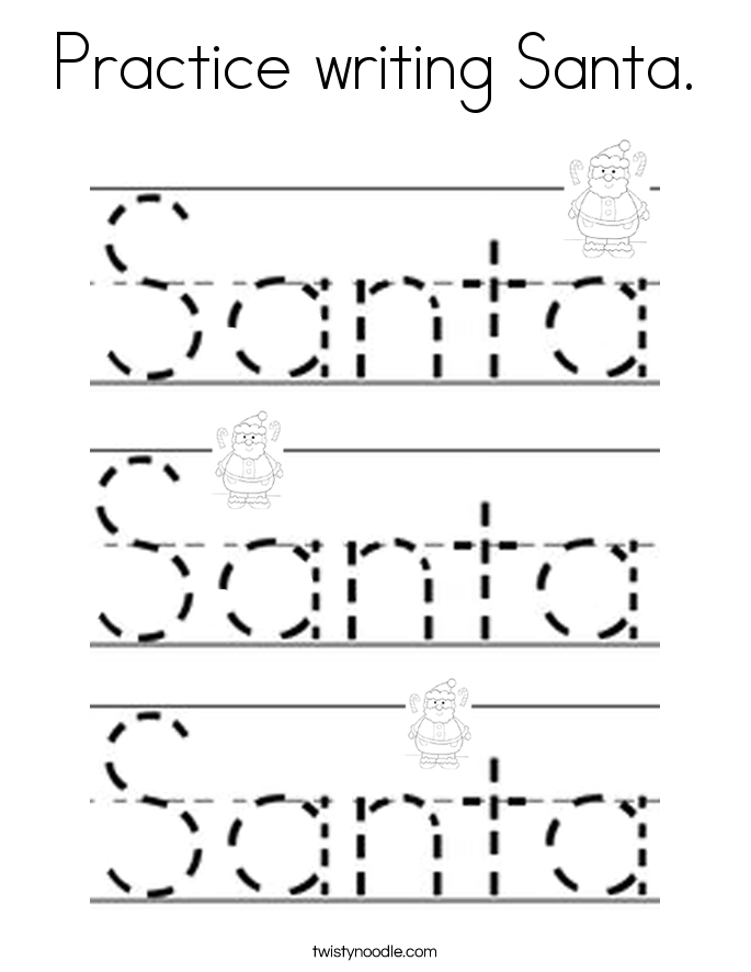 Practice writing Santa. Coloring Page