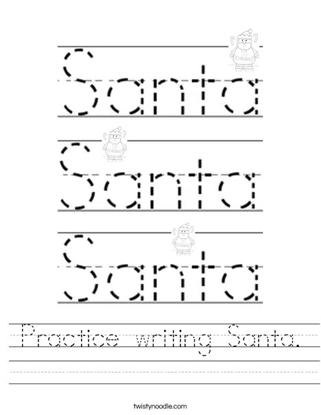 Practice writing Santa. Worksheet