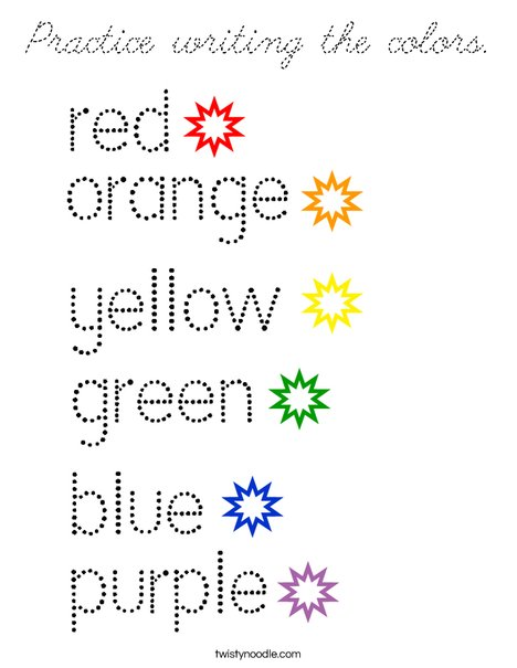 Practice writing the colors. Coloring Page