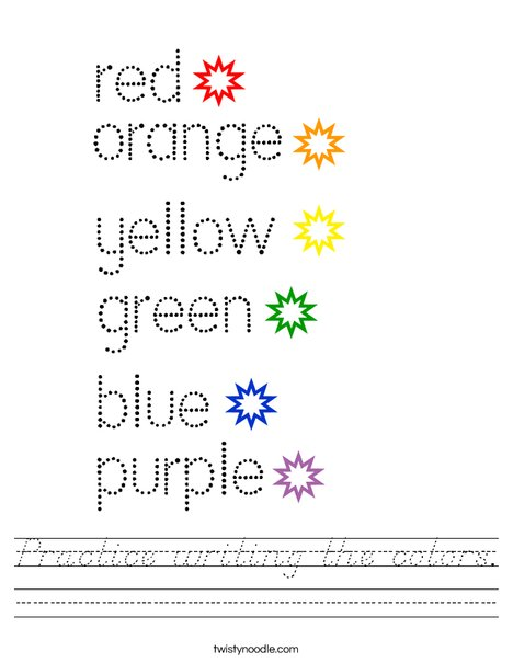 Practice writing the colors. Worksheet