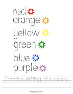 Practice writing the colors Handwriting Sheet