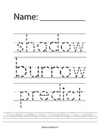 Practice writing the Groundhog Day words Handwriting Sheet