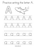 Practice writing the letter A. Coloring Page