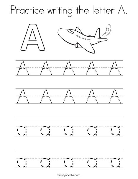 Practice writing the letter A Coloring Page - Twisty Noodle