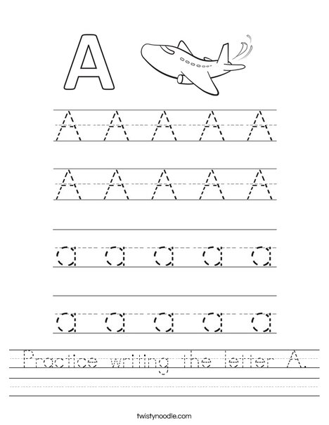 Practice writing the letter A. Worksheet